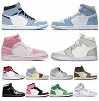 2021 Chaussures de basketball 1 Hommes Femmes 1S High Og Jumpan Université Bleu Saint Valentin Hyper Royal Mid Light Smoke Grey Chicago Dark Moc R7GV #
