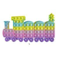 Arco-íris Tie Dye Fidget Brinquedos Bolhas Infantil Educacional Natal Forma de Decompressão Pai-Criança HWD9987