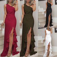 New Slit Ruffled Large Evening Gown Spring Oblique Shoulder Women Dress Sexy Plus Size S-3XL