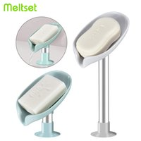 Leaf Shape Soap Box Bathroom Soap Holder with Suction Cup Drain Soap Dish Plastic