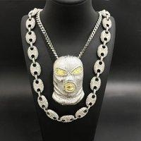 Hip Hop Männer Gold Silber Full Kaffeebohnen Halskette Out Kristall Miami Kubanische Schwarz Maskierte Mann Anhänger Ketten