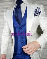 High Quality One Button White Printing Groom Tuxedos Peak Lapel Wedding Prom Dinner Groomsmen Men Suits Blazer (Jacket+Pants+Vest+Tie) W1402
