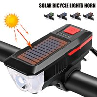 Bike Lights Bicycle Front Light With Horn Solar Powered USB Rechargeable 3 Modes T6 LED Safety Warning Accessories