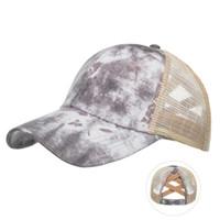 5 New styles Tie-dye Ponytail Hat Bucket Hat Criss Cross Ponytail Baseball Net Cap Newest Street Outdoor Sports Tide Hat LLA421