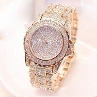 Designer Luxus Marke Uhren Mujer Full Shiny Diamond Strass Runde Quarz Bewegung Armbanduhr Frauen ES Damenmode