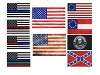العلم الأمريكي 90CMX150CM ضابط إنفاذ القانون قانون التعديل الثاني شرطة الولايات المتحدة غرامة الخط الأزرق بيتسي روس أعلام قابلة للتخصيص