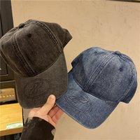 21SS WE11DONE gewassen denim hoeden reliëf rubber stempel zon arcering zonbestendige gebogen rand hoed voor mannen en vrouwen mode caps