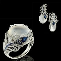 Earrings & Necklace 2021 Bohemia Silver Moonstone Blue Stud Big Rings Sets For Women Wedding Statement Feather Brinco Ring Fashion Jewelry