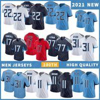 22 Деррик Генри Мужская футбольные трикотажки 11 AJ Brown 17 Ryan Tannehill 31 Kevin Banard Высокое качество сшиты