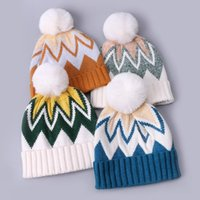 Beanies Winter Printed Color Matching Knitted Hat Ethnic Style Warm White Fur Ball Soft Beanie For Men Women Ski Ear Protection