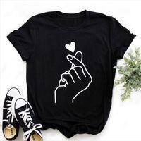 Zogankin harajuku الحب القطن القلب النساء قمم لفتة طباعة الفتيات السود الصيف الأزياء الملابس