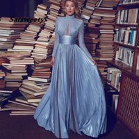 Elegant Dusty Blue Evening Dress Long Sleeve High Neck Prom Dresses 2021 A Line Plus Size Formal Party Gowns Custom Made