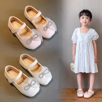 Flat Shoes Beige Pink Kids Girls Rhinestone Princess For Wedding Party Children Dance Performance Single Chaussure Fille