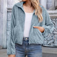 Blue Zipper Polar Fleece Sweatshirt Winter Jacket Clothes Ladies Large Size Retro Pocket Long Sleeve Cardigan Women's Jackets