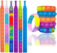 Sensory Wristband Toy Push pop Bubble Fidget Stress Colorful Rainbow Silicone Bracelet Toys for Kids Toddler Adults Hand Finger Decompression