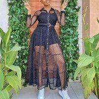 Mulheres Longa Malha Camisa Vestido de Bolinhas Ver através de Preto Transparente Tule Africano Moda Primavera Feminino Vestes Túnica Plus Size XL Casual Dres