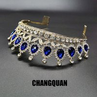 Hair Clips & Barrettes Ly Crown Ornament Bridal Wedding Accessories Simple Alloy Blue Crystal Dress Jewelry