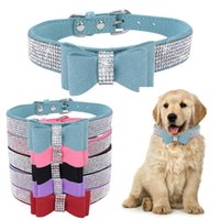 Dog Collars & Leashes Rhinestone Small Dogs Bling Crystal Bow PU Leather Pet Collar Puppy Cats Necklace Harness Leash Dropship