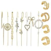Stud Golden Ear Cuff Wrap Crawler Hook Earrings Kit Rhinestone Piercing
