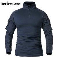 ReFire Gear Army Combat T shirt Men Long Sleeve Tactical T-Shirt Solid Cotton Military Shirt Man Navy Blue Hunt Airsoft T Shirts 210726