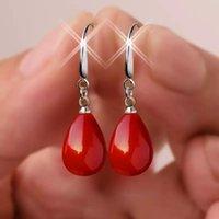 Designer Earrings Luxury Jewelry Pearl Red Drop Earring for Women Fancy Colorful Simulated-pearl Long Trendy Gift