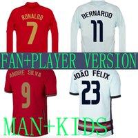 2020 Ronaldo Long Sleeve 축구 유니폼 플레이어 버전 키트 Joao Felix Neves Bernardo Cancelo Ruben Neves 2021 멀리 홈 20 21 National Team