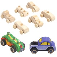 6 unità / set DIY Creative Automobile Laccato in legno Artigianato Educazione e imparare a rendere la decorazione della casa Giocattoli per bambini a mano