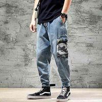 Calças de brim dos homens novos camuflagem solta Harlan macacão hip hop largo perna de pernas fechadas calças casuais