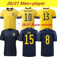 Thai 2021 Suecia Fútbol Jerseys Fans Versión del jugador Forsberg Lindelof Guineti Fooball Camisa Ibrahimovic Kallstrom National Maillot Maniforme del hombre