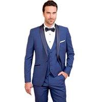 men wedding tuxedo royal blue suits dinner 2021 custom made dress groom wear