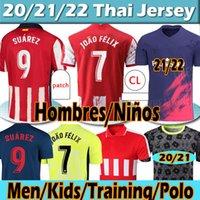 21 22 새로운 Atletico 축구 유니폼 Joao Felix Suarez Koke Madrid 2021 2022 Camisetas de Fútbol 훈련 폴로 남자 키트 Fooball Shirt Thailand Top