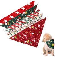 Cuellos de perro Correas Navidad PET COLLAR COSTURA Bufanda Bandana Santa Claus Impreso Cuello Vendaje Baberos Accesorios Accesorios