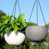 Rattan Hanging Plant Pots Flower Baskets Self Watering Wall Garden Pot Planters Metal Bucket Holders Home Decor Vases