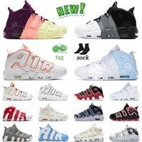 Autentyczne 2021 Najwyższej jakości buty do koszykówki Lucky Charms Męskie kobiety Scottie Pippen Air More Uptempo Gym Red Ledly Green Trainers 36-47