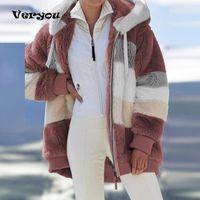 Women's Jackets 5XL Plus Size Winter Coat Oversized Fashion Casual Stitching Plaid Clothes Hooded Zipper Ladies Lamb Hair Korean