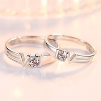 New Ladies Fashion Silver Ring High Quality Crystal Love Heart Language Retro Couple Ring Pair For Sale Y0426