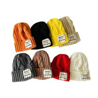 Kids Hats Girls Boys Caps Autumn Winter Baby Hat Letter Wool Crochet Knitted Beanie Cap 2-6T Warm Accessories B8705