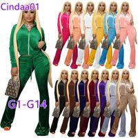 Женщины Couscuits Сплошные бархатные 2 кусок наряды на молнии передний карманный карман с длинным рукавом куртка колокольчика нижний домохозяйство спортивное набор XS-XXL 74 цвета