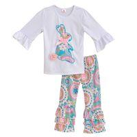 2020 девушки весенняя одежда набор белый топ с кроликами футболки Tee красочные винтажные рюшаты рубашки детская одежда бутик хлопковых нарядов E001