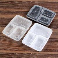Plástico Dinnerware Reusável Bento Box De Armazenamento Comida Alimentos Pré-almoço Caixas 3 Compartimento Containers Home Lunchbox Mar Shipping HWB9633