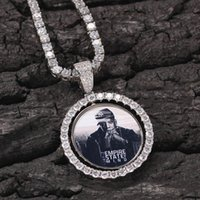 Custom Photos Necklace Fashion Gold Iced Out Rotatable Pendant Mens Hip Hop Double-sided Photo Necklaces Jewelry