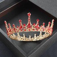 Baroque Vintage Royal Queen King Round Crystal Wedding Crown Corona Bridal Tiaras and Crowns Diadem Sposa Accessori per gioielli per capelli