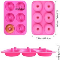 NEW6 Cavity Non-Stick Donut Mould Muffin Cake Silicone Doughnut Bakeware Baking Mold Moulds Pan DIY Jelly Candy 3D Molds GWE10468