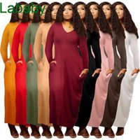 Women Dress Designer Autumn And Winter New Large Ladies Wear Solid Color Sexy V-neck Dress Long Sleeve Double Pockets Skirt 9 Colours