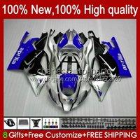 Moto Bodys für Aprilia RSV1000R MILLE RV60 RSV1000 R RR 04-06 BODYWORK 11NO.59 RSV-1000 RSV1000RR 04 05 06 RSV 1000 R 1000R 1000RR 2004 2005 2006 Verkleidungsset blau silbrig
