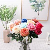 Simulation Single Rose Flower Gold Fille Rose Cadeau Soie Saint Valentin Jour Rose Mariée Mariée Holding Bouquets de fleurs Décoration GWe8224