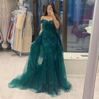 Hunter Green Off Shoulder Lace Appliques Evening Dresses with Detachable Train Tulle Formal Prom Party Gowns Plus Size