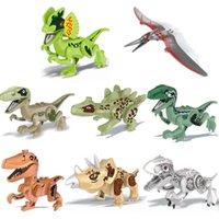 MEJOR venta 8 Bloques de construcción de dinosaurios Jurásico Pequeño partículas DIY de bricolaje para niños Regalos Educativos Educativos