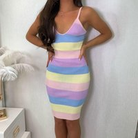 Casual Dresses Elegant Colorful Stripe Suspender Bodycon Dress Women Ladies Sleeveless Slim Fit Knitted Ribbed Sundress Party Wear