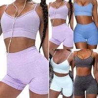 Women's Tracksuits Women Yoga Suit Vest Bra Crop Top Shorts Set Sports Gym Training Legging Pants Tracksuit Solid Outfit Wear Sportswear